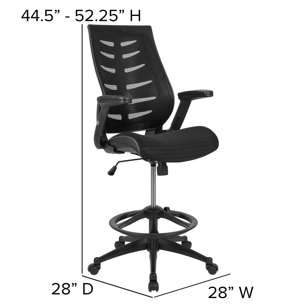 High Back Black Mesh Spine-Back Ergonomic Drafting Chair with Adjustable Foot Ring and Adjustable Flip-Up Arms. Picture 4