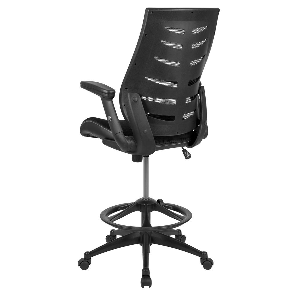 High Back Black Mesh Spine-Back Ergonomic Drafting Chair with Adjustable Foot Ring and Adjustable Flip-Up Arms. Picture 5