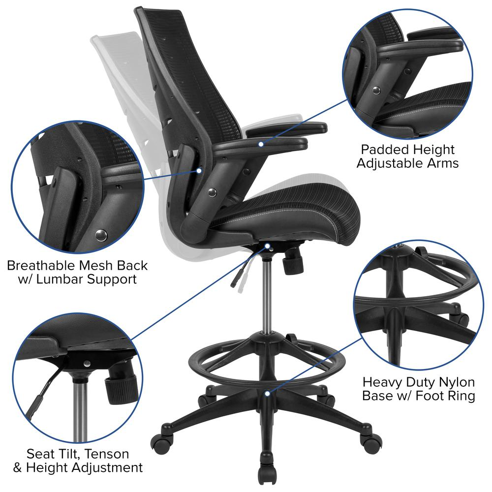 High Back Black Mesh Spine-Back Ergonomic Drafting Chair with Adjustable Foot Ring and Adjustable Flip-Up Arms. Picture 3