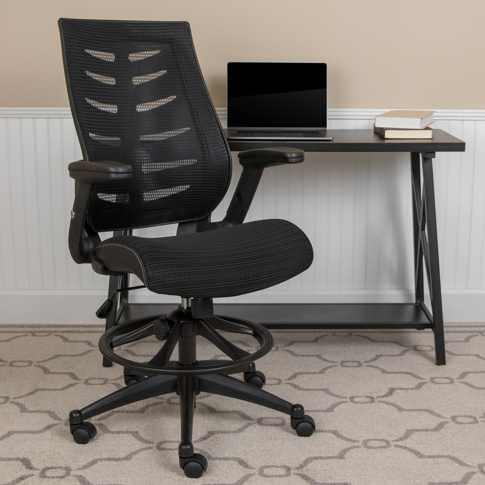 High Back Black Mesh Spine-Back Ergonomic Drafting Chair with Adjustable Foot Ring and Adjustable Flip-Up Arms. Picture 2