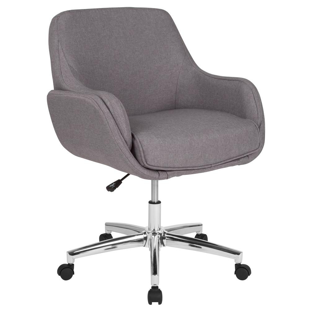 Home and Office Upholstered Mid-Back Molded Frame Chair in Light Gray Fabric. Picture 1