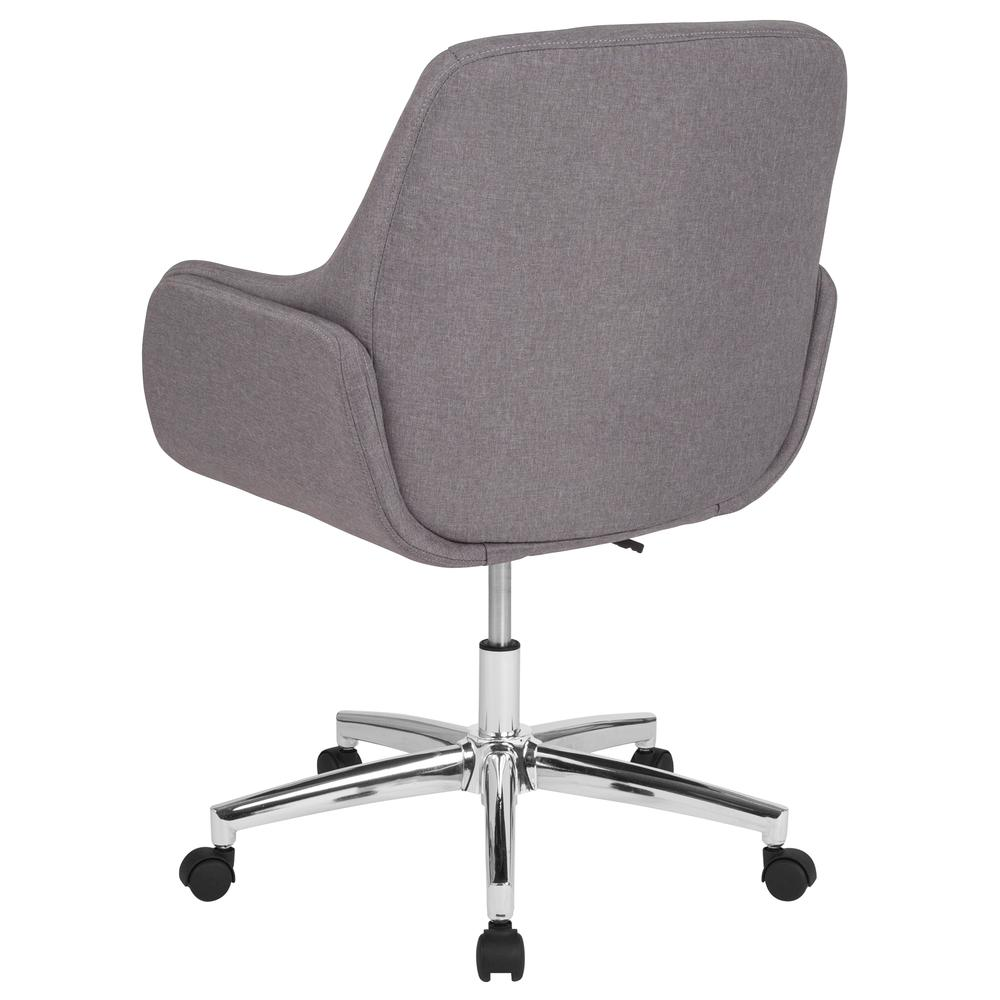 Home and Office Upholstered Mid-Back Molded Frame Chair in Light Gray Fabric. Picture 3