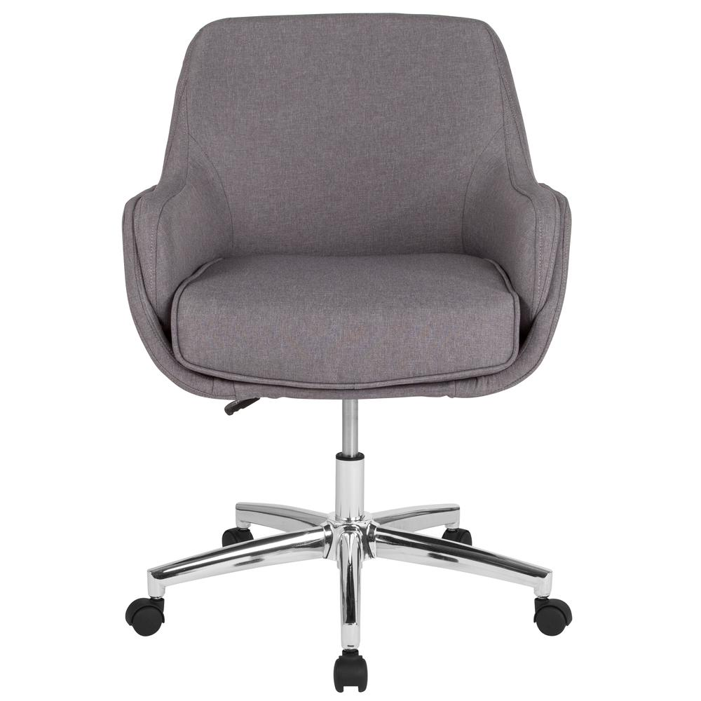 Home and Office Upholstered Mid-Back Molded Frame Chair in Light Gray Fabric. Picture 4