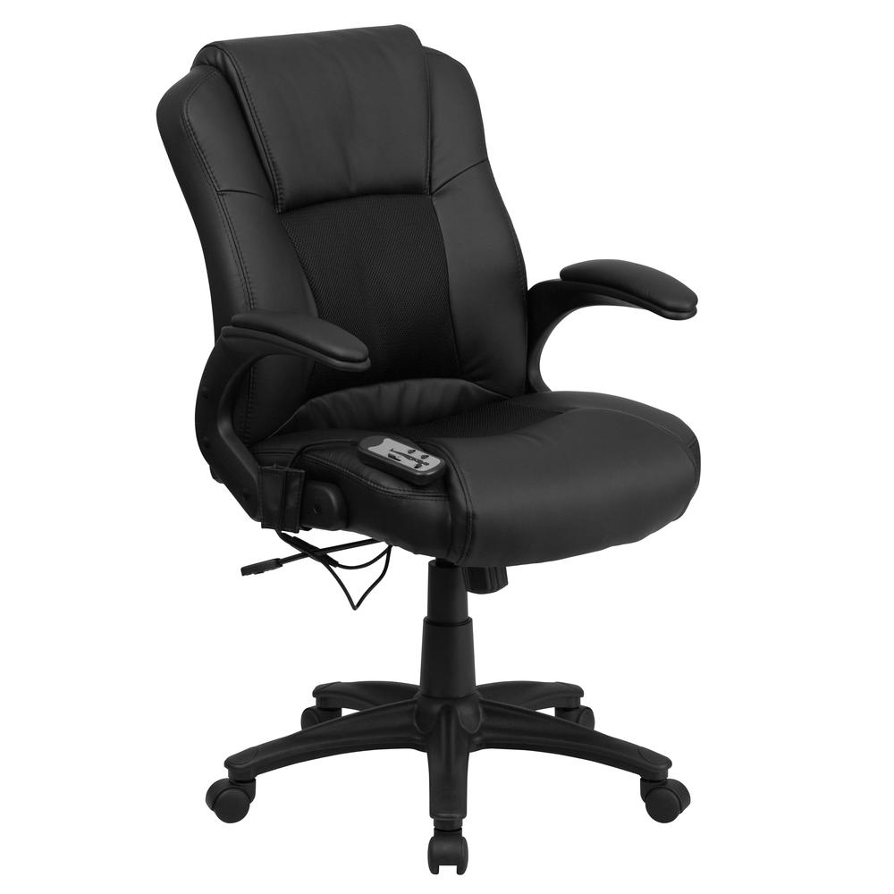 Ergonomic Massaging Black LeatherSoft Executive Swivel Office Chair with Arms. Picture 1