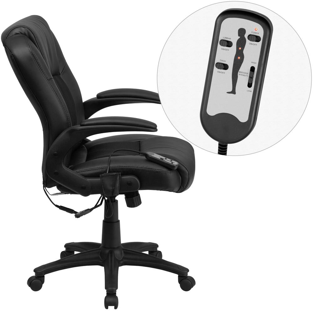 Ergonomic Massaging Black LeatherSoft Executive Swivel Office Chair with Arms. Picture 3