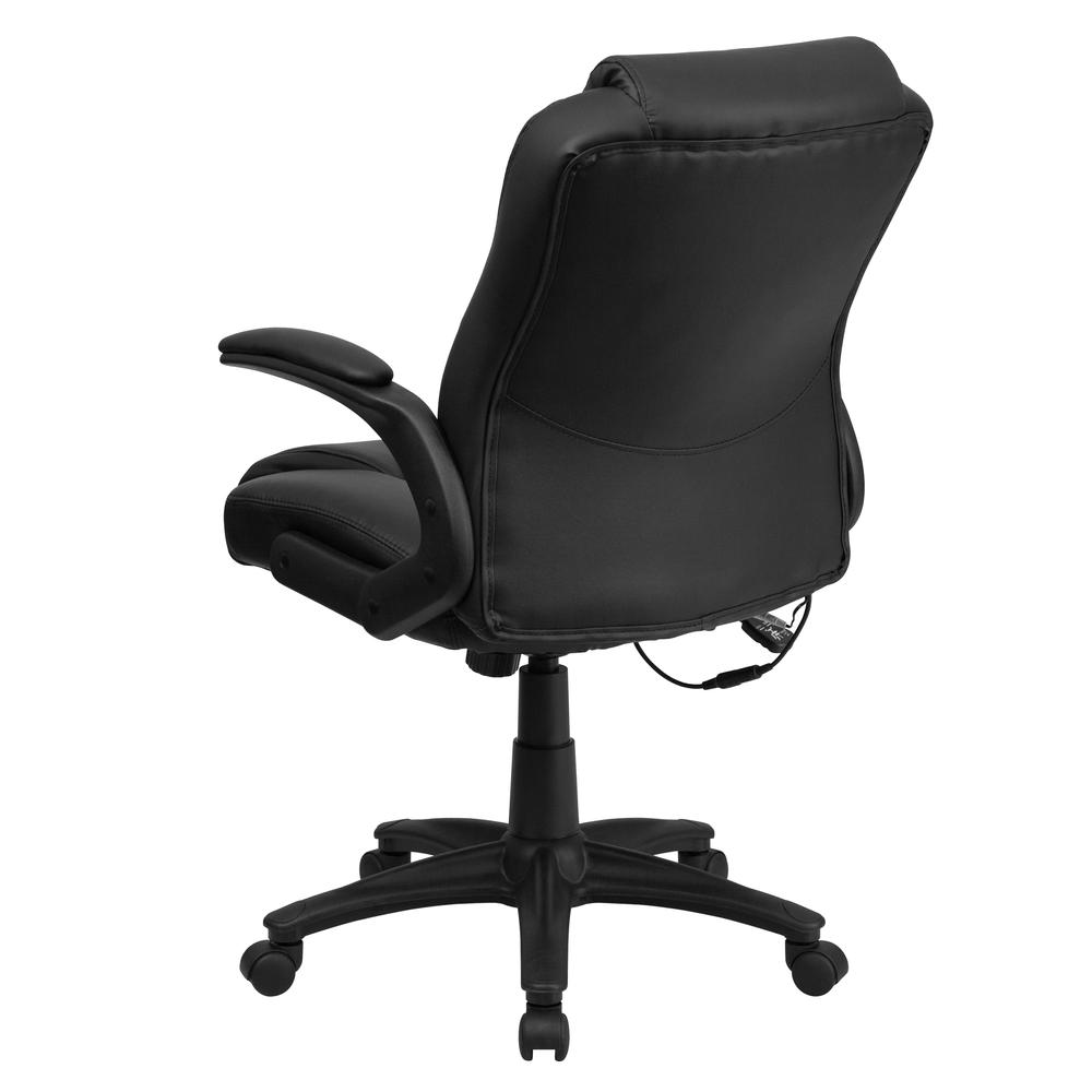 Ergonomic Massaging Black LeatherSoft Executive Swivel Office Chair with Arms. Picture 4