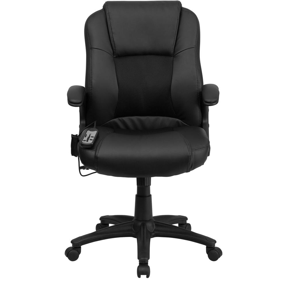 Ergonomic Massaging Black LeatherSoft Executive Swivel Office Chair with Arms. Picture 5
