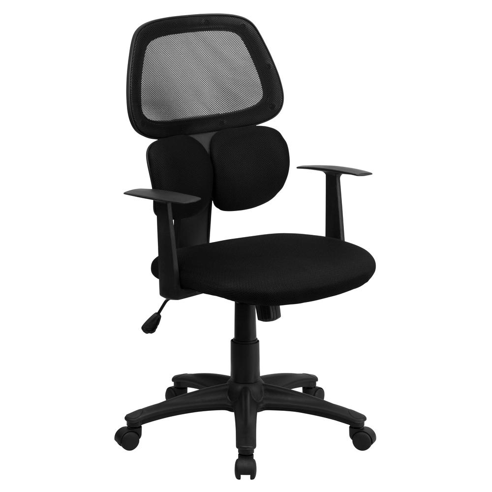 Mid-Back Black Mesh Swivel Task Office Chair with Flexible Dual Lumbar Support and Arms. Picture 1