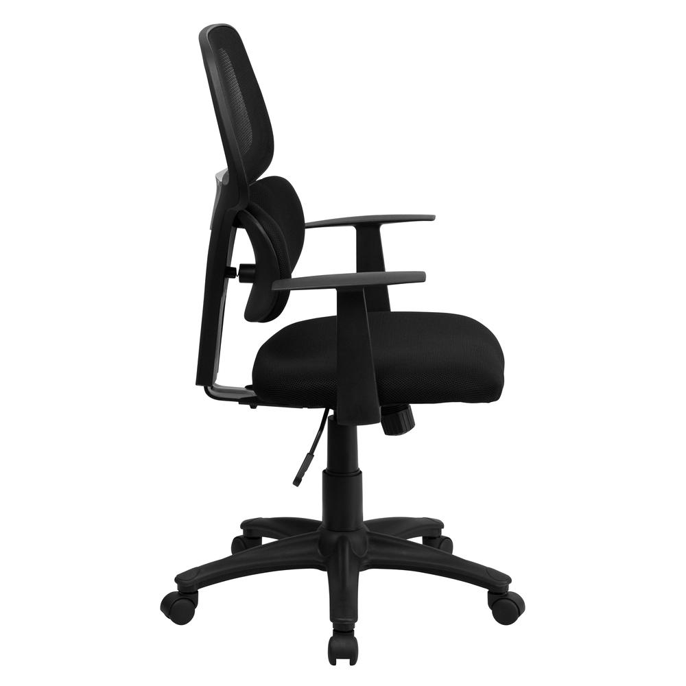 Mid-Back Black Mesh Swivel Task Office Chair with Flexible Dual Lumbar Support and Arms. Picture 2