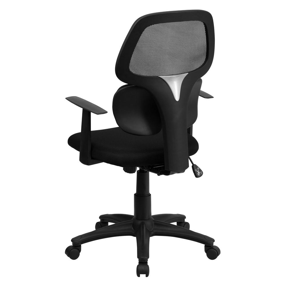 Mid-Back Black Mesh Swivel Task Office Chair with Flexible Dual Lumbar Support and Arms. Picture 3