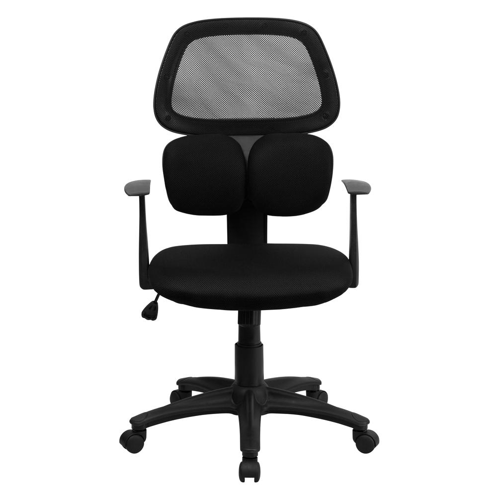 Mid-Back Black Mesh Swivel Task Office Chair with Flexible Dual Lumbar Support and Arms. Picture 4