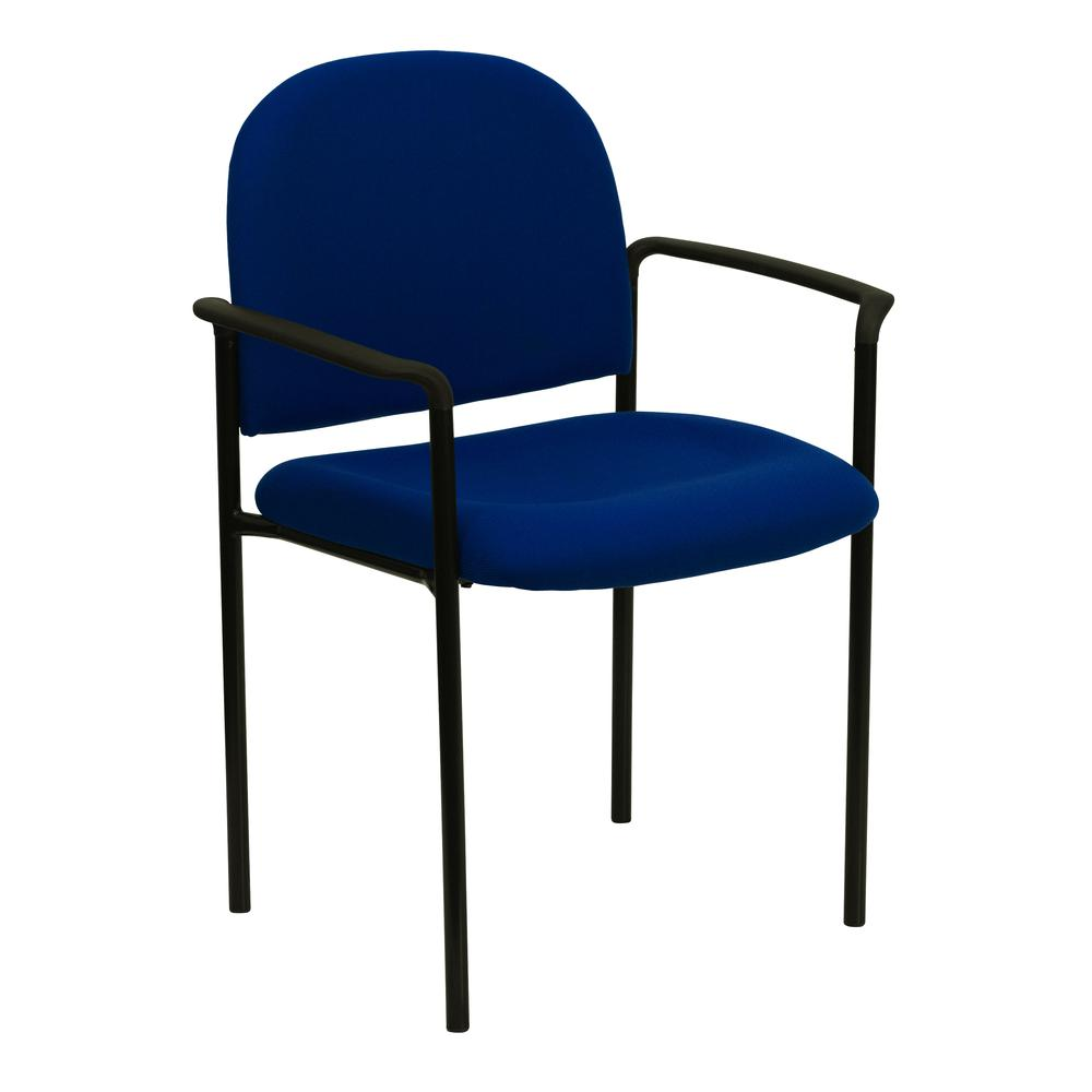 Comfort Navy Fabric Stackable Steel Side Reception Chair with Arms. Picture 1