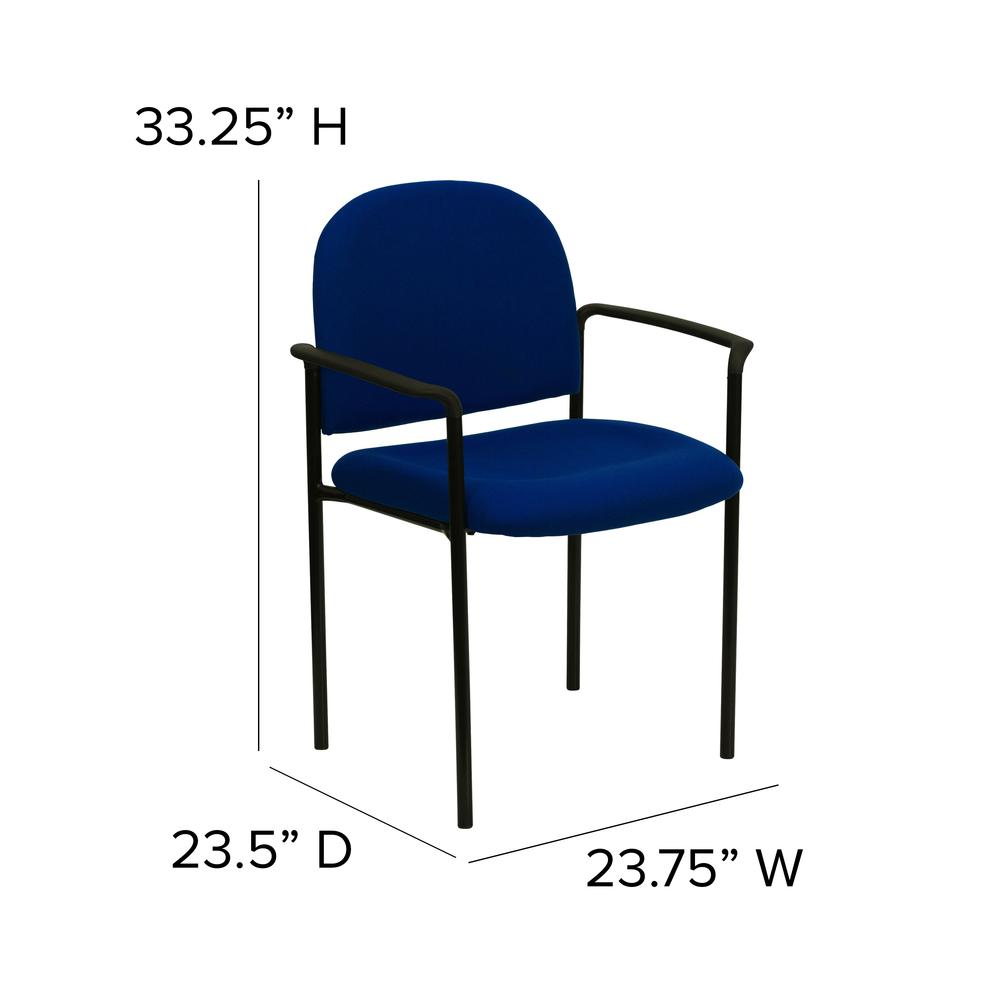 Comfort Navy Fabric Stackable Steel Side Reception Chair with Arms. Picture 2