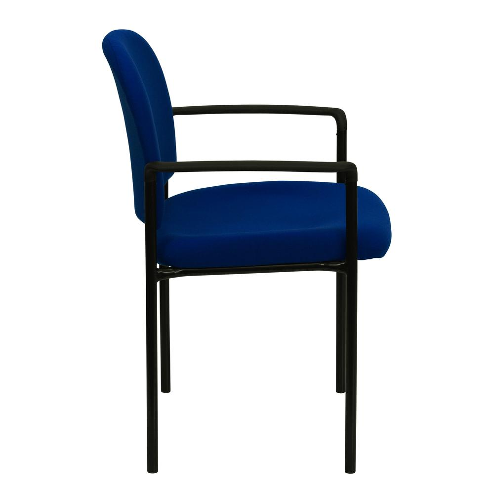 Comfort Navy Fabric Stackable Steel Side Reception Chair with Arms. Picture 3
