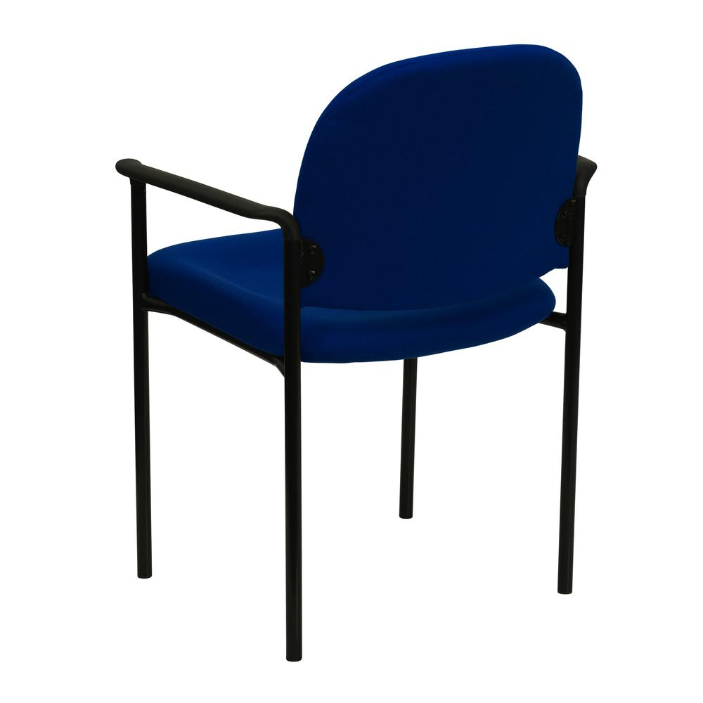 Comfort Navy Fabric Stackable Steel Side Reception Chair with Arms. Picture 4