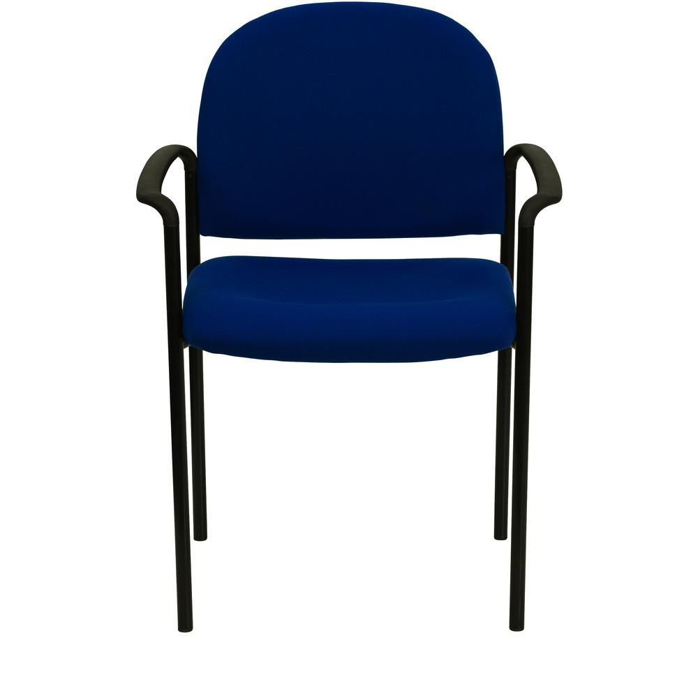 Comfort Navy Fabric Stackable Steel Side Reception Chair with Arms. Picture 5
