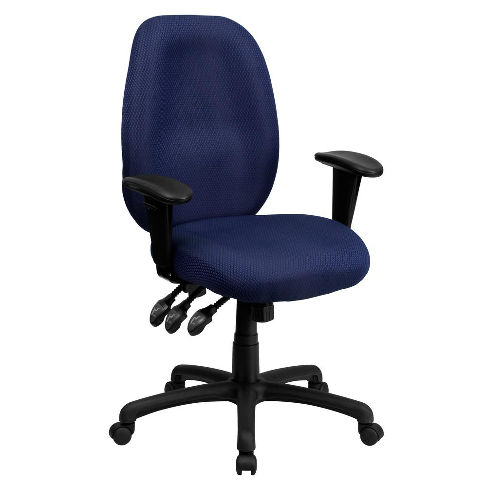 High Back Navy Fabric Multifunction Ergonomic Executive Swivel Office Chair with Adjustable Arms. Picture 1