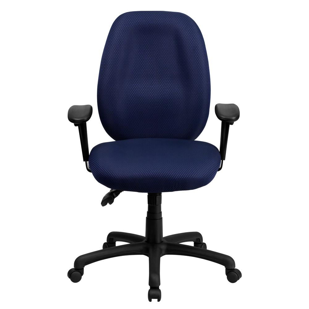 High Back Navy Fabric Multifunction Ergonomic Executive Swivel Office Chair with Adjustable Arms. Picture 4