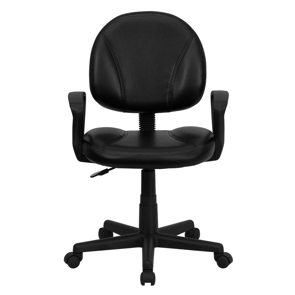 Mid Back Black Leather Ergonomic Swivel Task Chair With Arms
