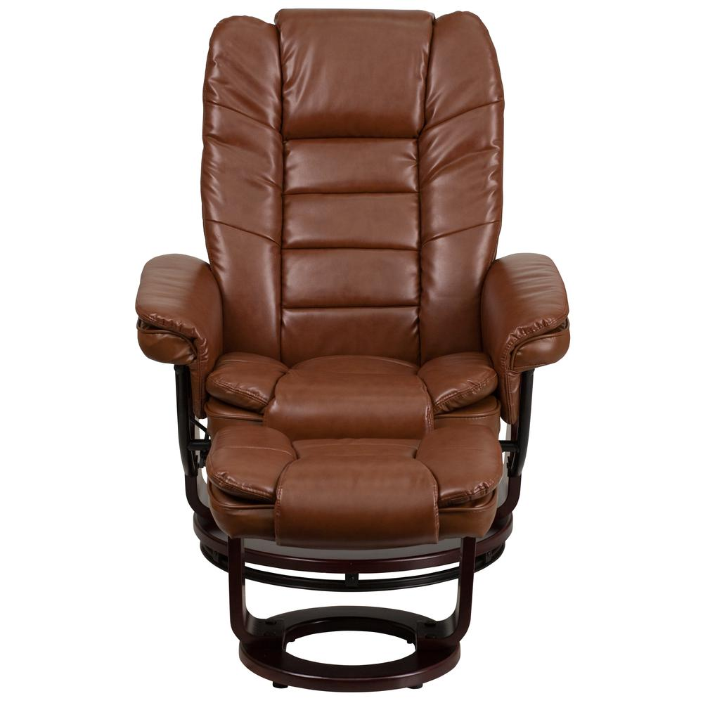 Contemporary Brown Vintage Leather Recliner With