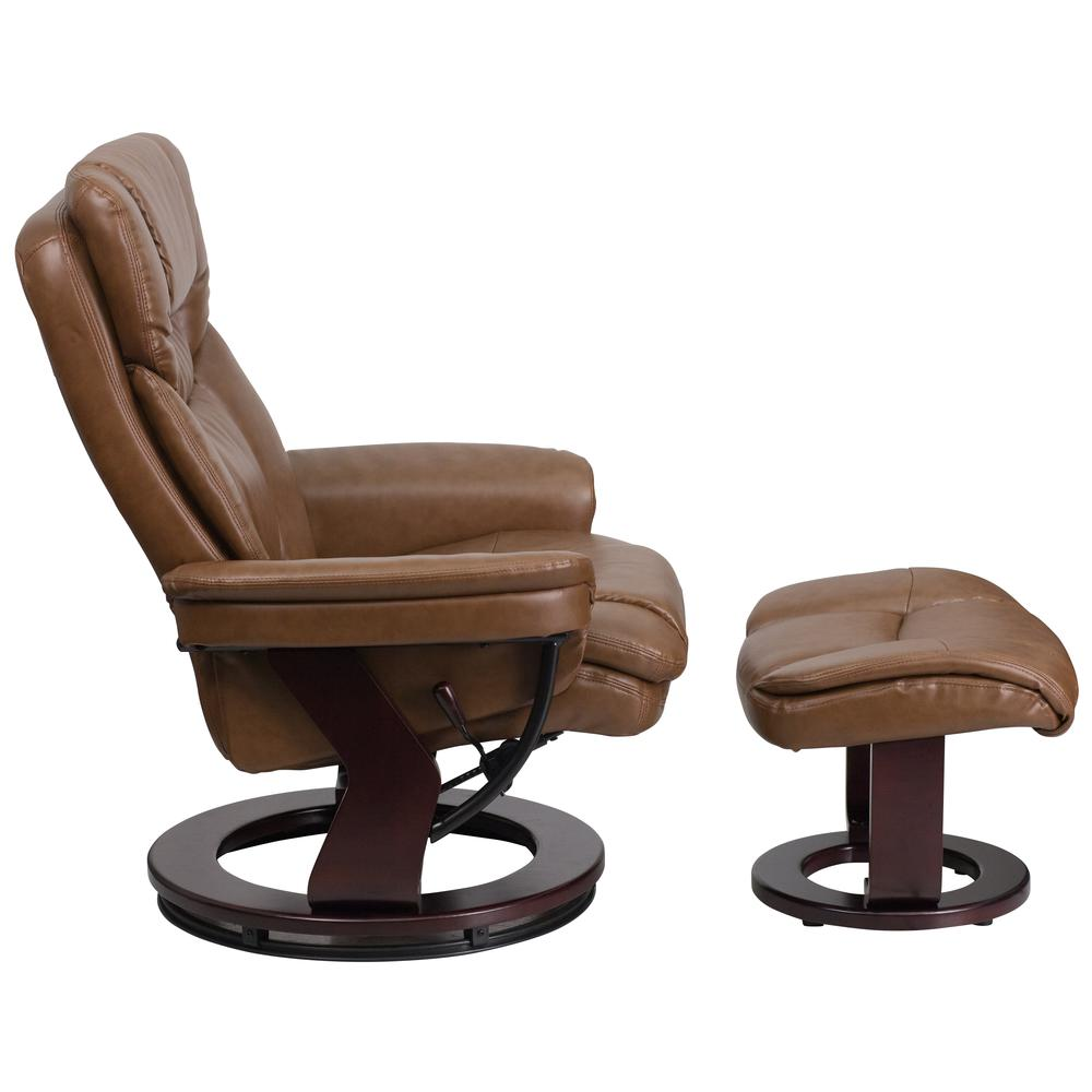 Contemporary Palimino Leather Recliner And Curved Ottoman