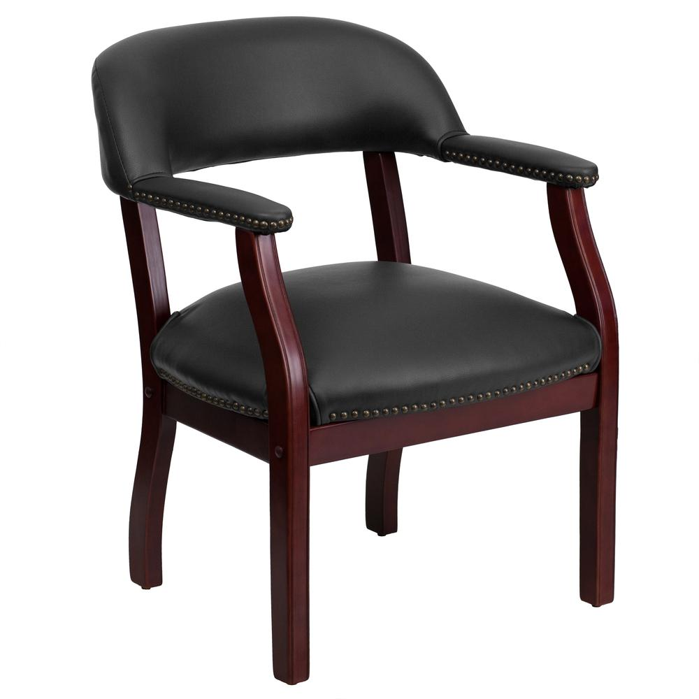 Black Vinyl Luxurious Conference Chair with Accent Nail Trim. Picture 1