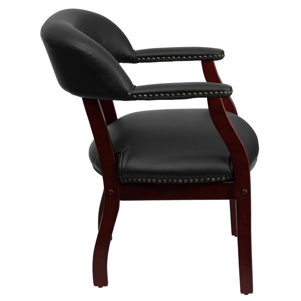 Black Vinyl Luxurious Conference Chair with Accent Nail Trim. Picture 3