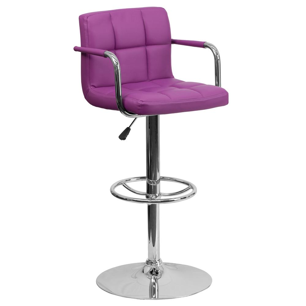Contemporary Purple Quilted Vinyl Adjustable Height Barstool with Arms and Chrome Base. Picture 1