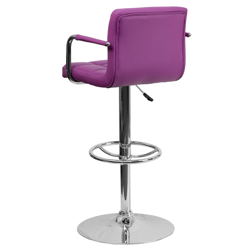 Contemporary Purple Quilted Vinyl Adjustable Height Barstool with Arms and Chrome Base. Picture 3