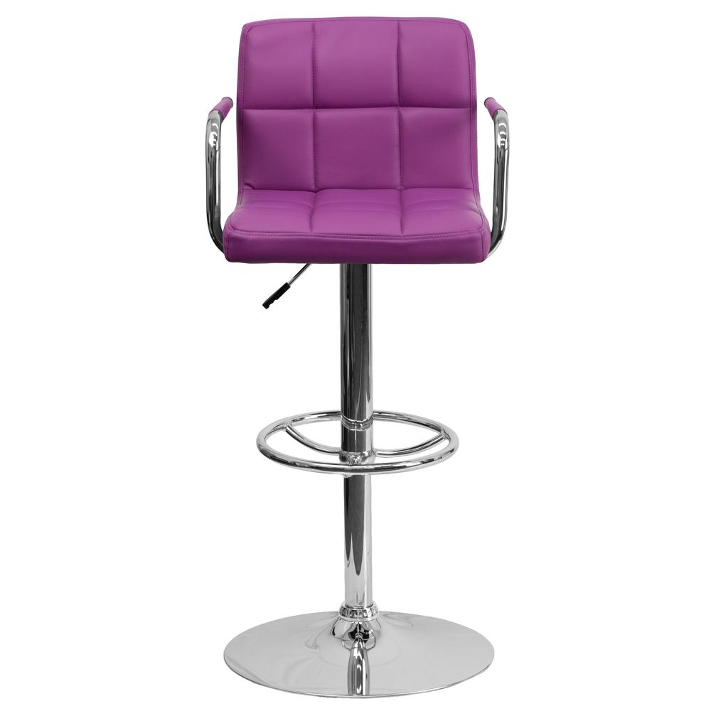 Contemporary Purple Quilted Vinyl Adjustable Height Barstool with Arms and Chrome Base. Picture 4