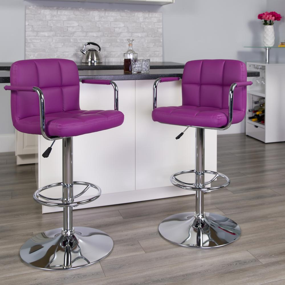Contemporary Purple Quilted Vinyl Adjustable Height Barstool with Arms and Chrome Base. Picture 5