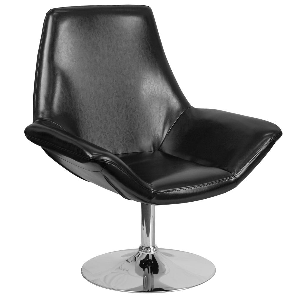 Black LeatherSoft Side Reception Chair with Open Protruding Arms. Picture 1