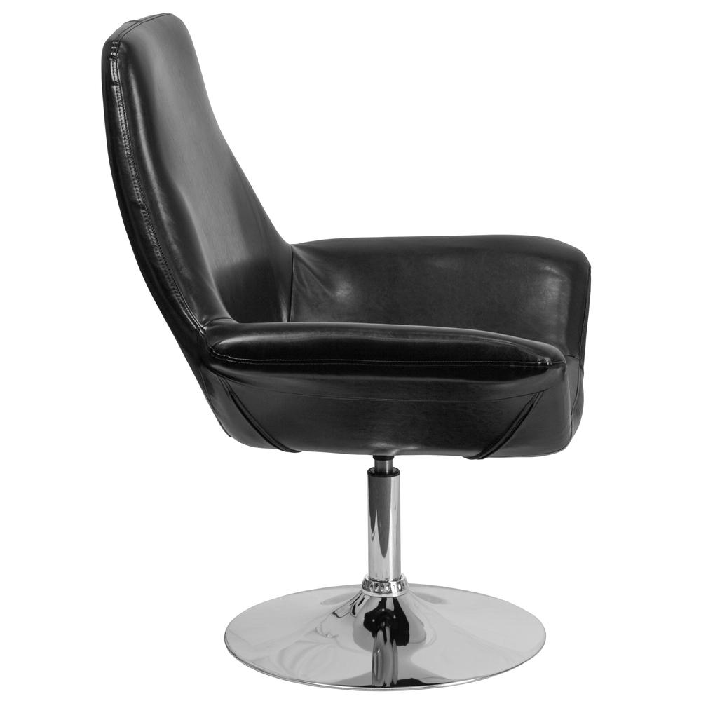 Black LeatherSoft Side Reception Chair with Open Protruding Arms. Picture 2