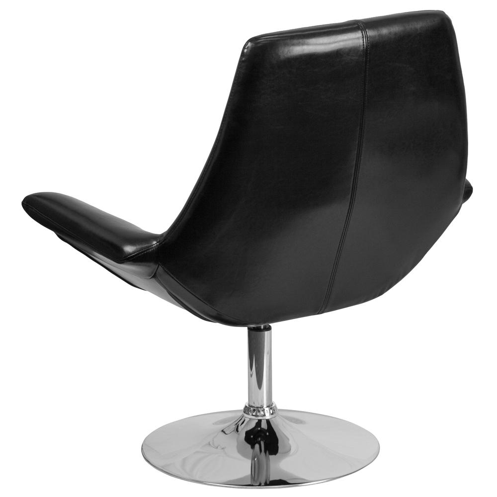 Black LeatherSoft Side Reception Chair with Open Protruding Arms. Picture 3