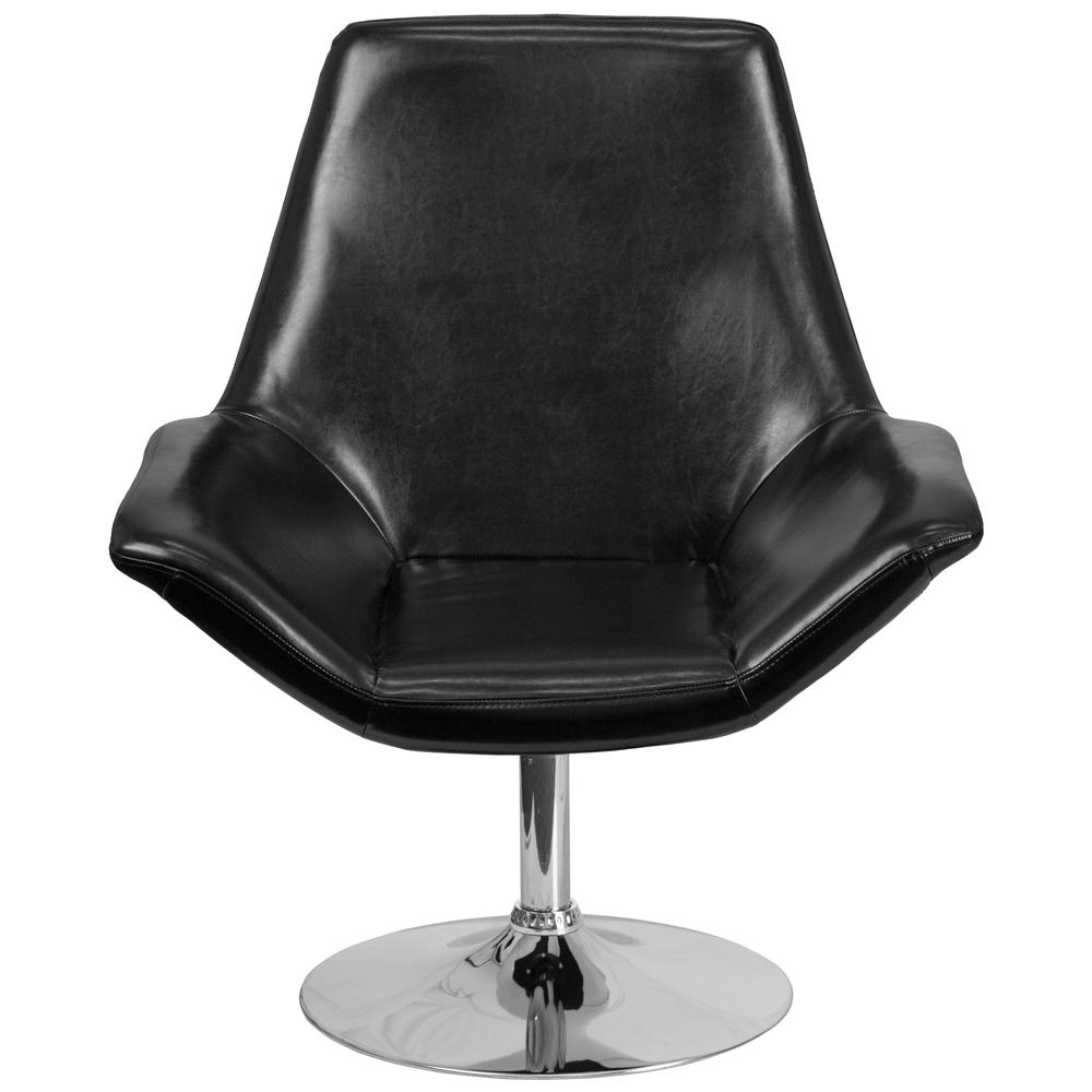 Black LeatherSoft Side Reception Chair with Open Protruding Arms. Picture 4