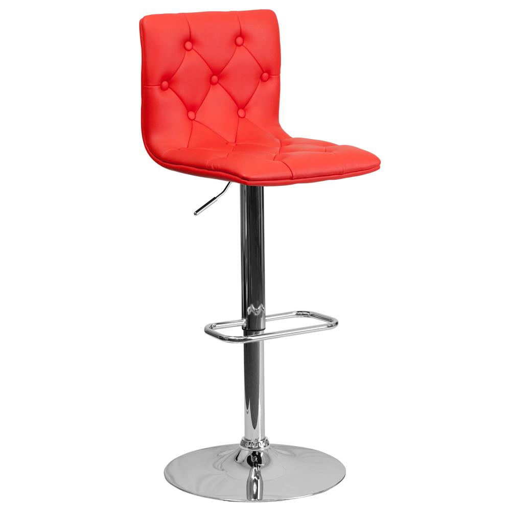 Contemporary Button Tufted Red Vinyl Adjustable Height Barstool with Chrome Base. Picture 1