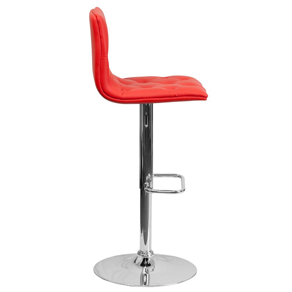 Contemporary Button Tufted Red Vinyl Adjustable Height Barstool with Chrome Base. Picture 2