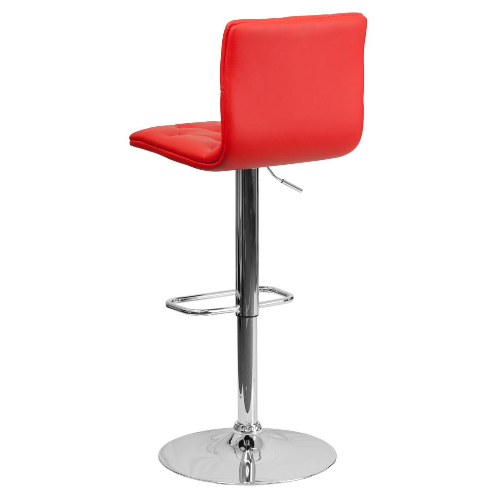 Contemporary Button Tufted Red Vinyl Adjustable Height Barstool with Chrome Base. Picture 3