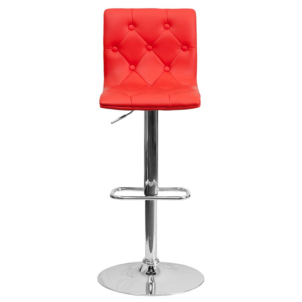 Contemporary Button Tufted Red Vinyl Adjustable Height Barstool with Chrome Base. Picture 4