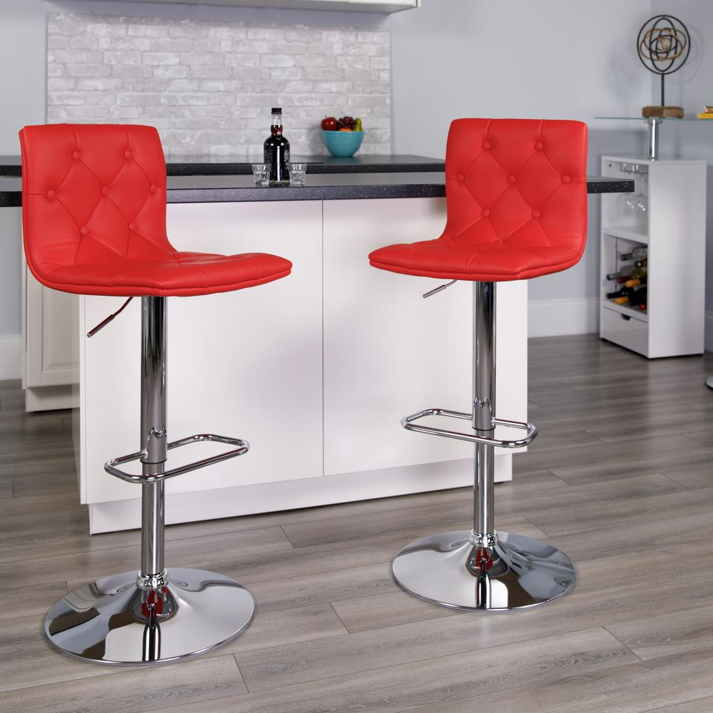 Contemporary Button Tufted Red Vinyl Adjustable Height Barstool with Chrome Base. Picture 5