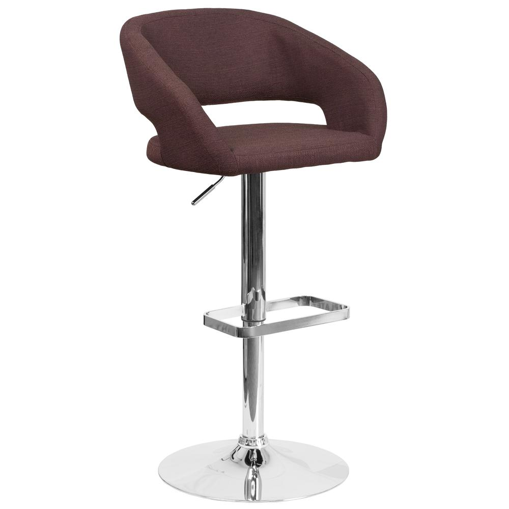 Contemporary Brown Fabric Adjustable Height Barstool with Rounded Mid-Back and Chrome Base. Picture 1