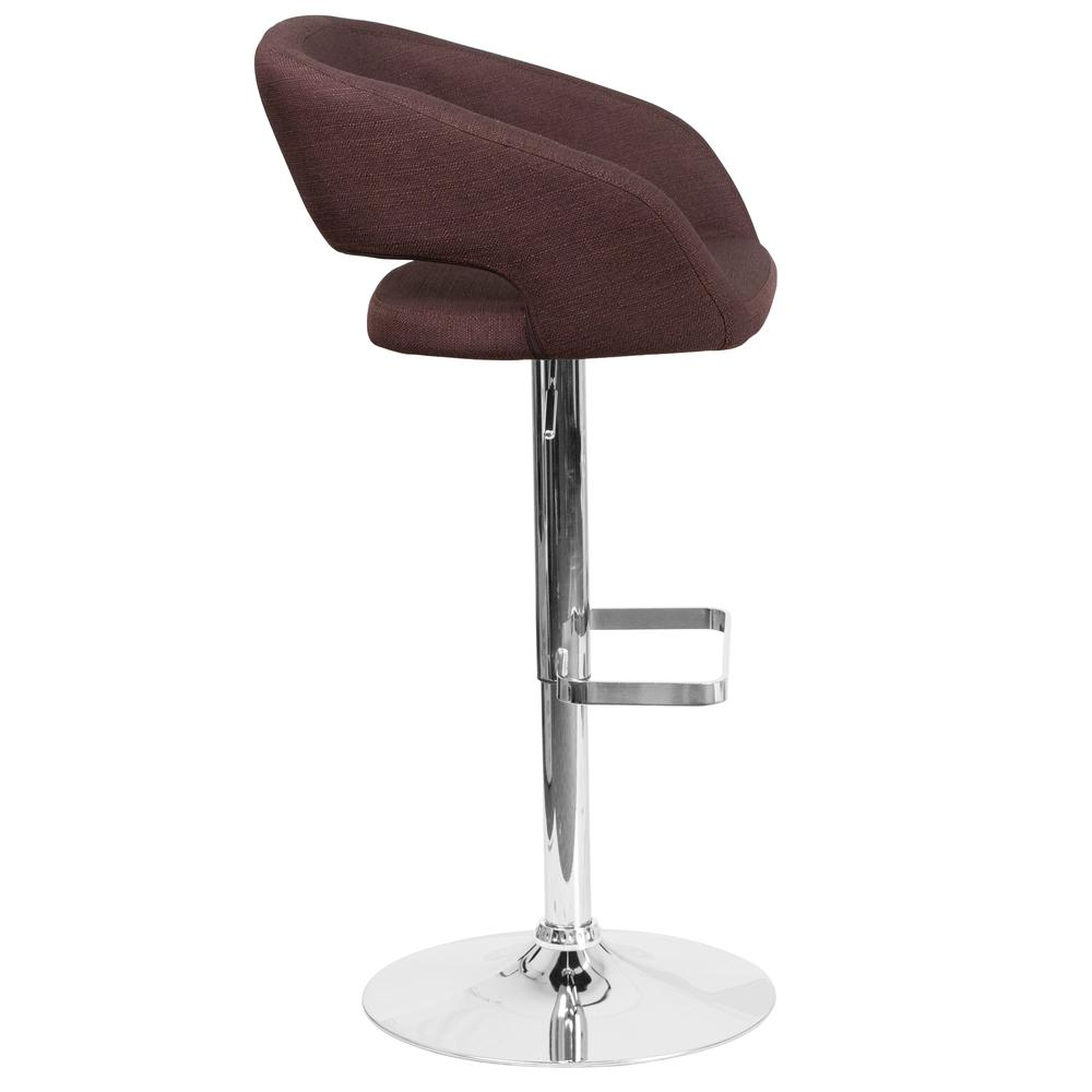 Contemporary Brown Fabric Adjustable Height Barstool with Rounded Mid-Back and Chrome Base. Picture 2
