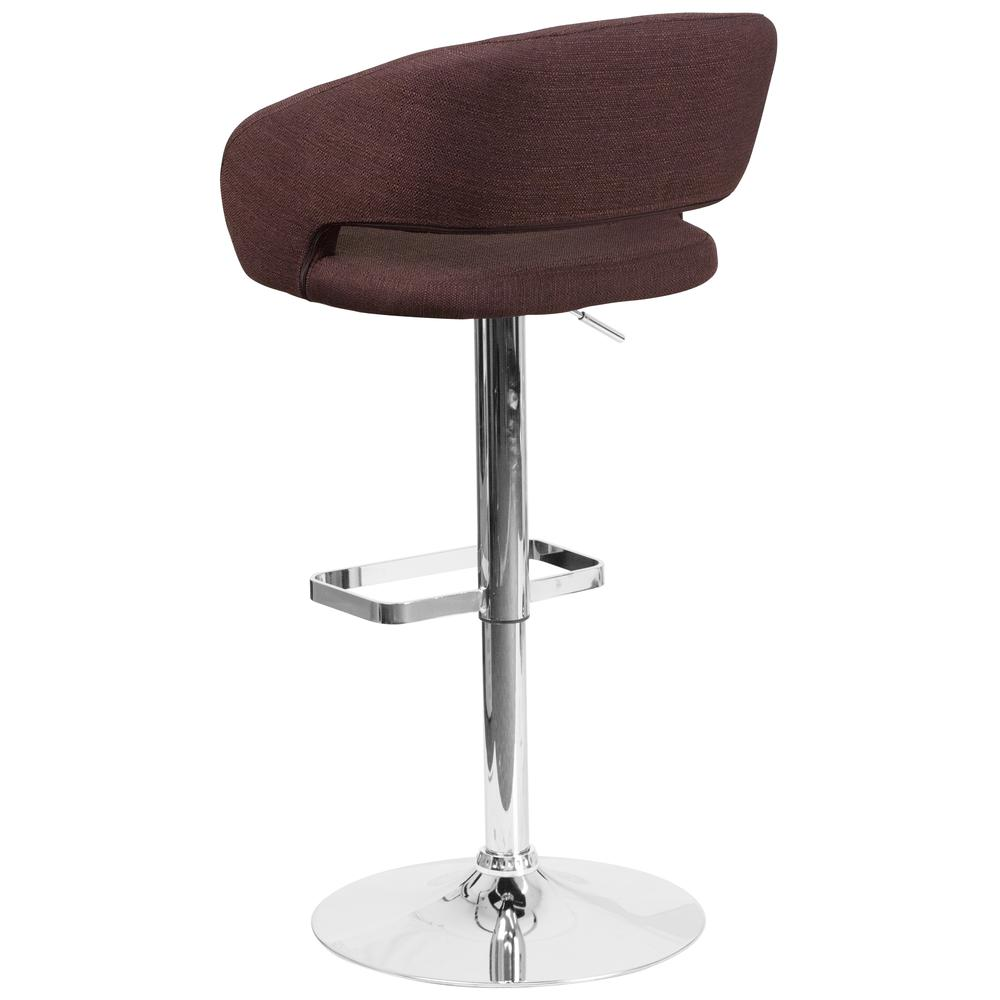 Contemporary Brown Fabric Adjustable Height Barstool with Rounded Mid-Back and Chrome Base. Picture 3