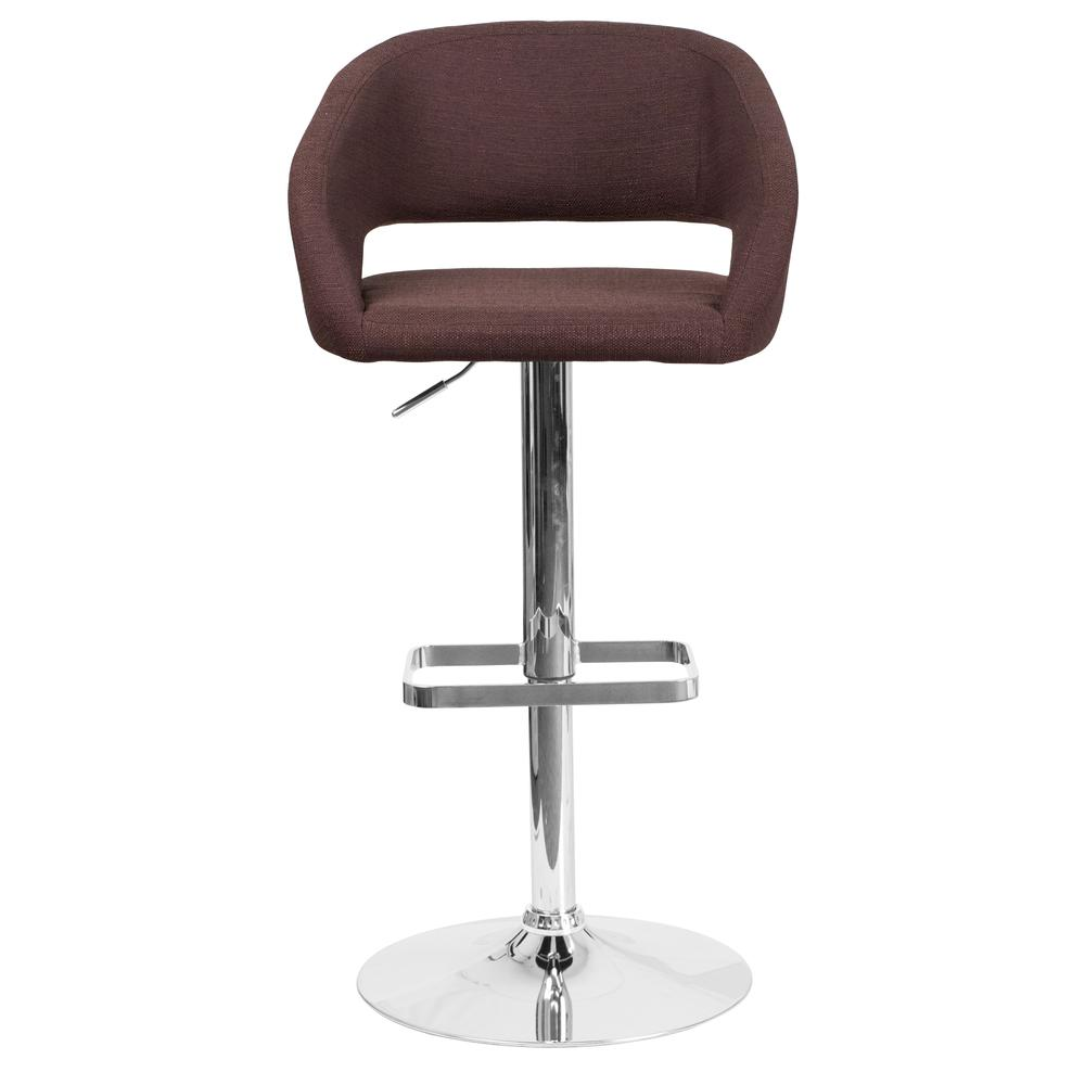 Contemporary Brown Fabric Adjustable Height Barstool with Rounded Mid-Back and Chrome Base. Picture 4