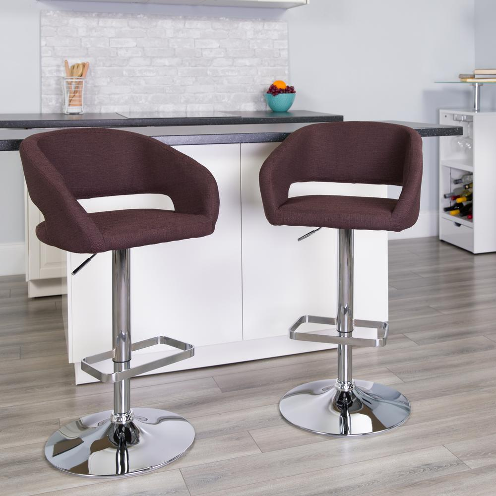 Contemporary Brown Fabric Adjustable Height Barstool with Rounded Mid-Back and Chrome Base. Picture 5
