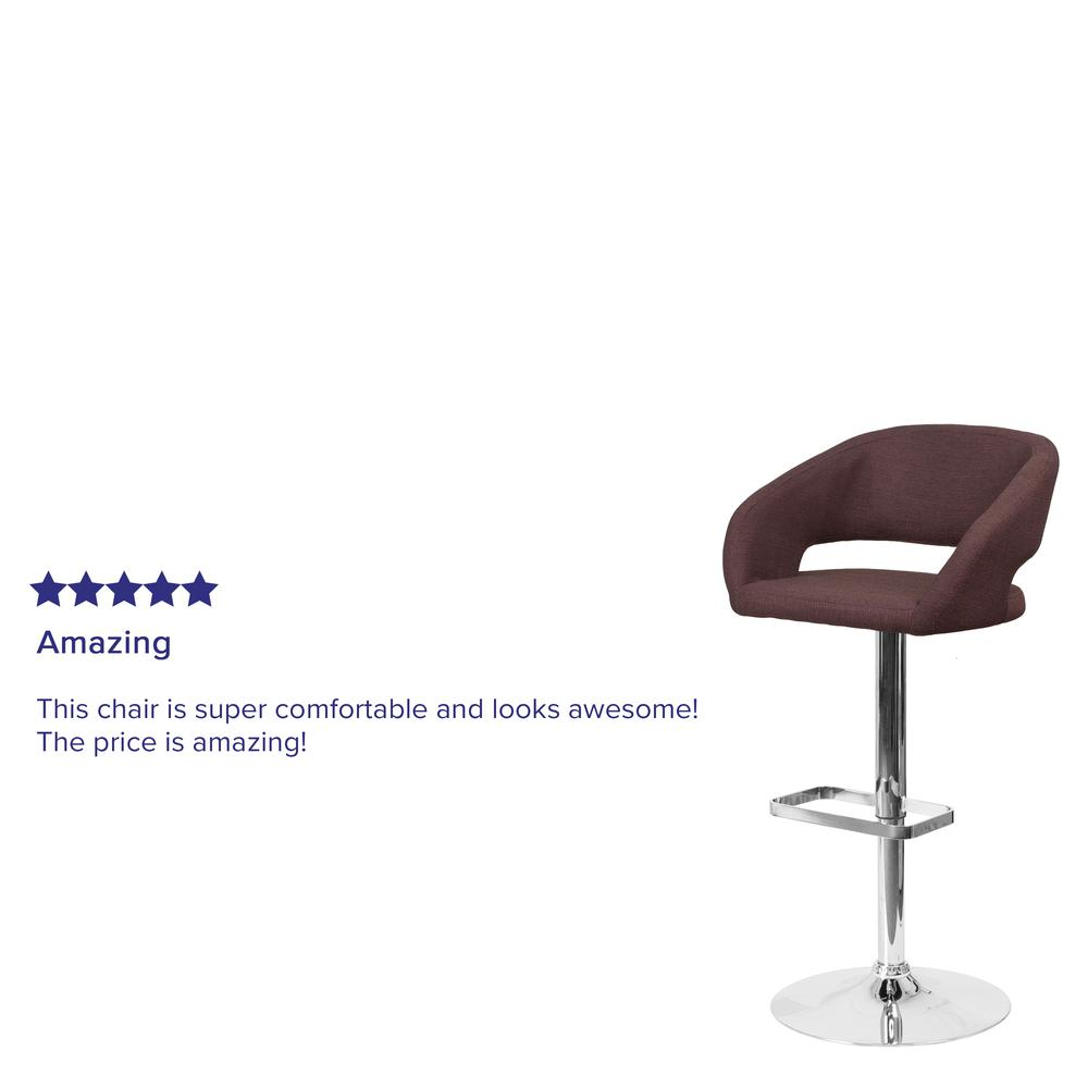 Contemporary Brown Fabric Adjustable Height Barstool with Rounded Mid-Back and Chrome Base. Picture 6