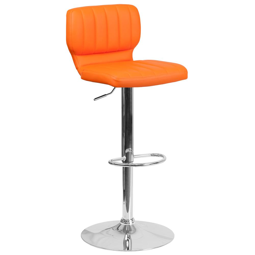 Contemporary Orange Vinyl Adjustable Height Barstool with Vertical Stitch Back and Chrome Base. Picture 1