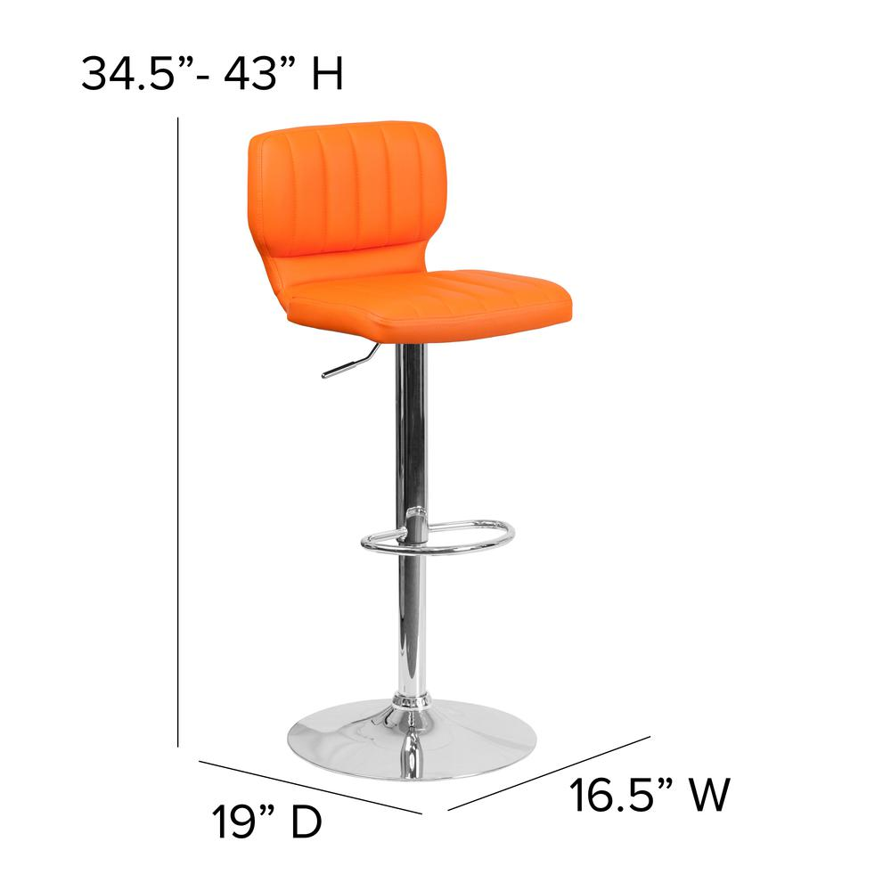 Contemporary Orange Vinyl Adjustable Height Barstool with Vertical Stitch Back and Chrome Base. Picture 2