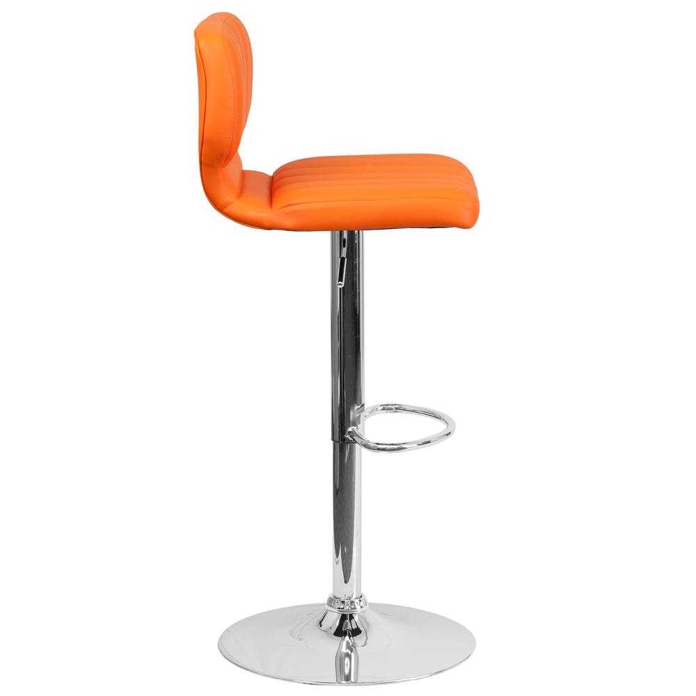 Contemporary Orange Vinyl Adjustable Height Barstool with Vertical Stitch Back and Chrome Base. Picture 3