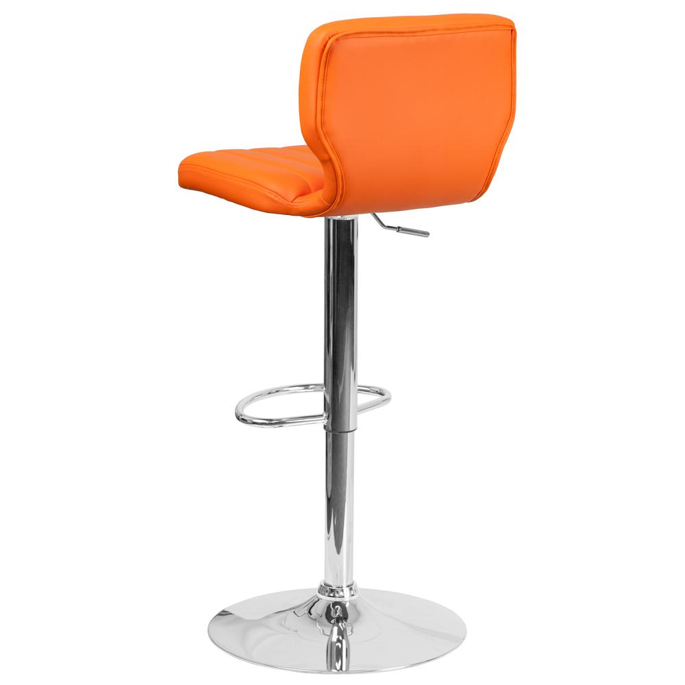 Contemporary Orange Vinyl Adjustable Height Barstool with Vertical Stitch Back and Chrome Base. Picture 4